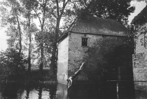A swimmer with the corn mill in the background