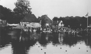 Real swimming competitions were organized in the pool behind the mill