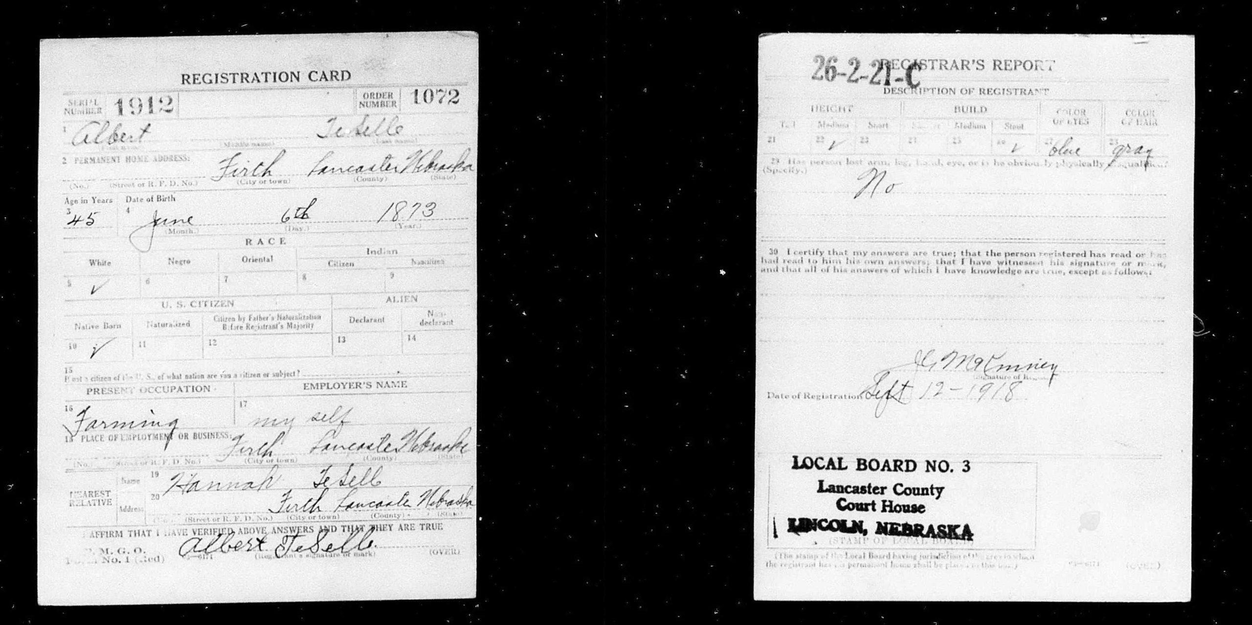 TeSelle Jan Albert (1873-1954) - U.S. World War I Draft Registration Card - 1918